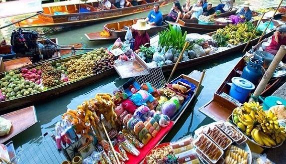 泰國曼谷丹嫩莎朵水上市場+美功鐵道半日遊